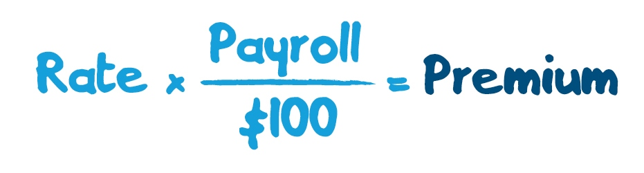 Your rate multiplied by your payroll divided by 100 equals your WCB premium.
