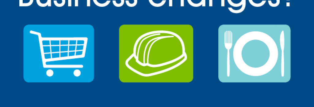 icons of a shopping cart, hard hat and place setting