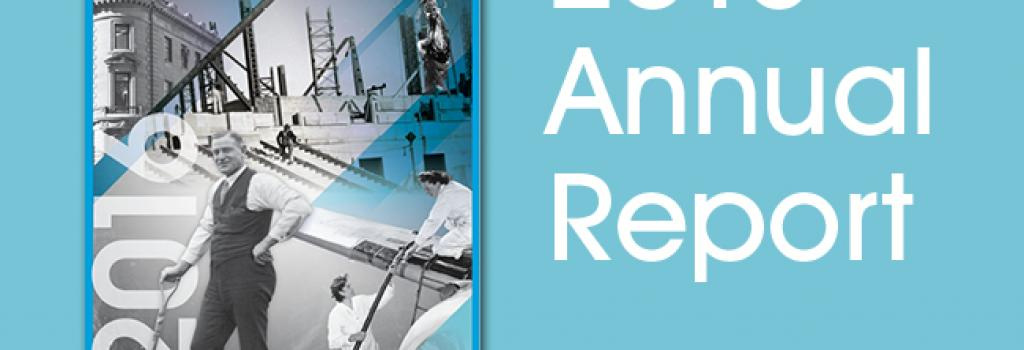 "The cover of the WCB 2016 Annual Report on a blue background, with the text ""2016 Annual Report."" The cover of the report features black and white photos from the WCB's 100 years of history."